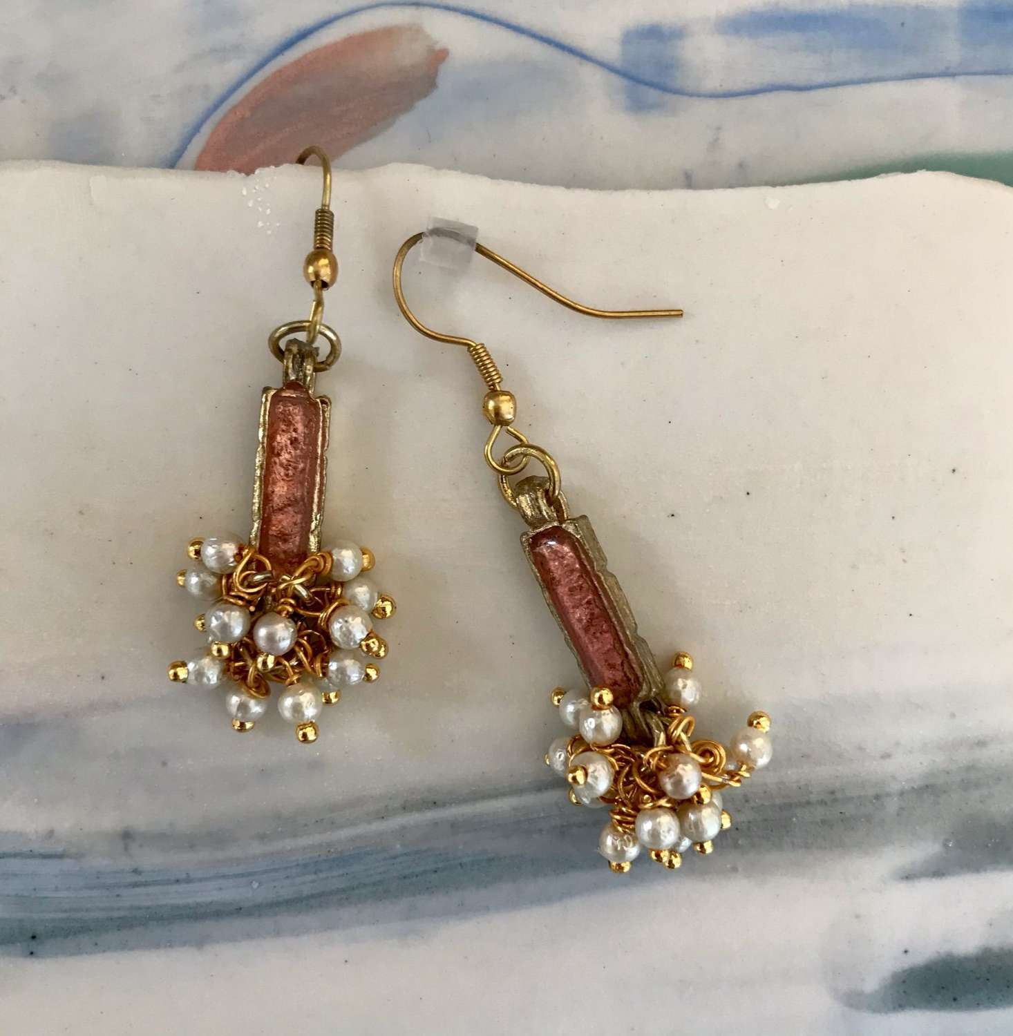 Blush and pearl cluster drop earrings
