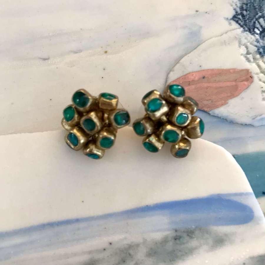 Emerald enamel cluster stud earrings
