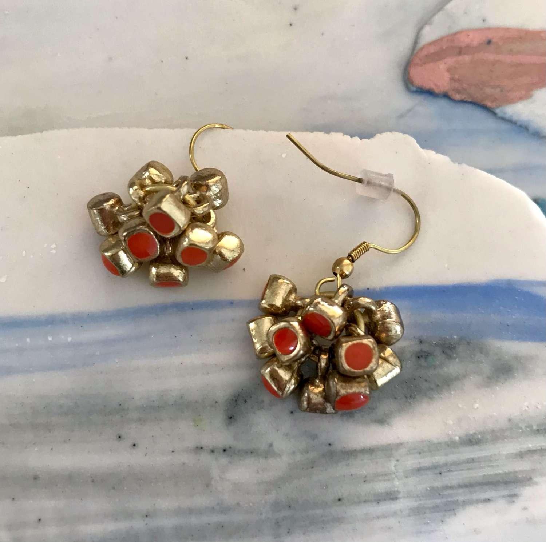 Coral enamel cluster drop earrings