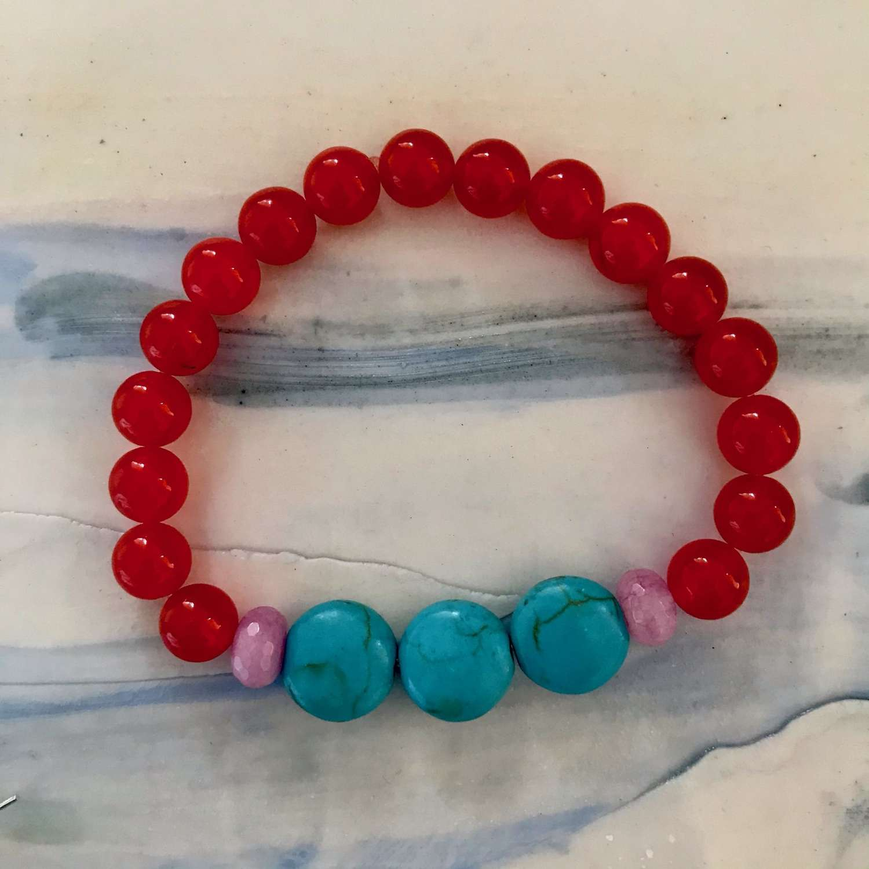 Annie bracelet - turquoise/orange