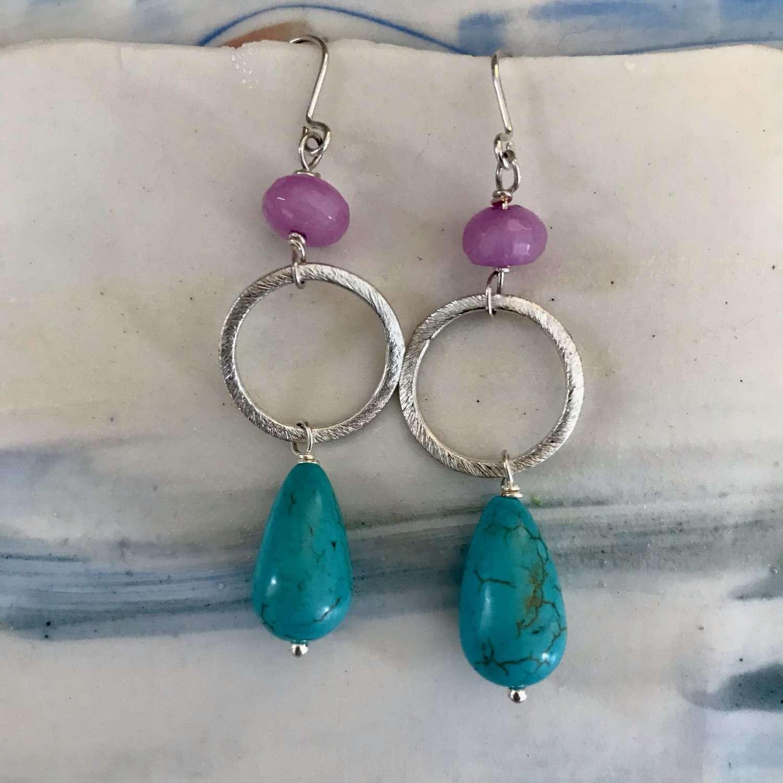 Lottie earrings - lilac/turquoise