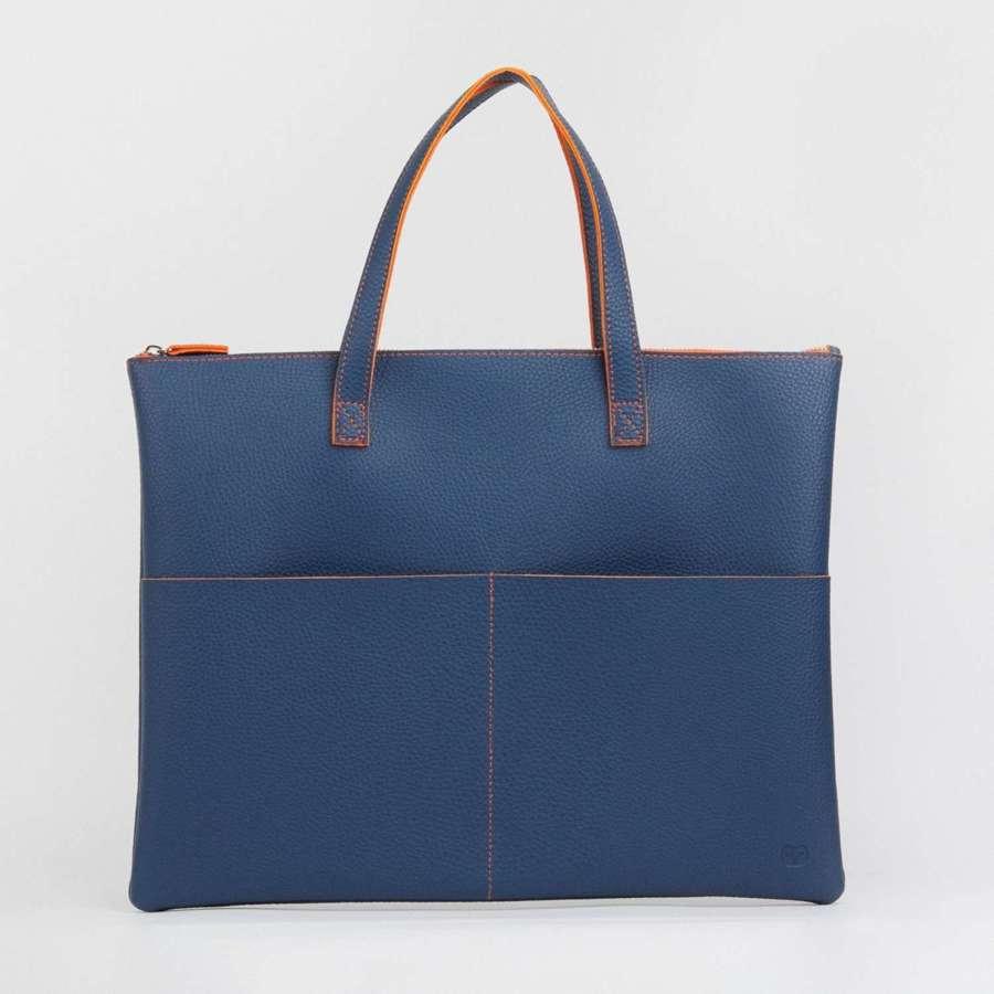 Tote bag navy/orange