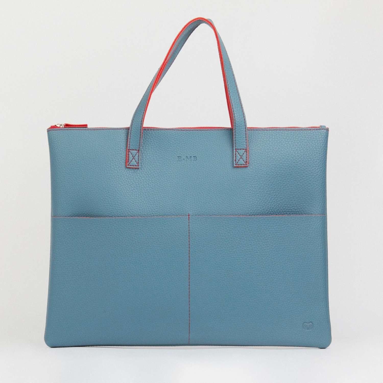 Tote bag teal/red